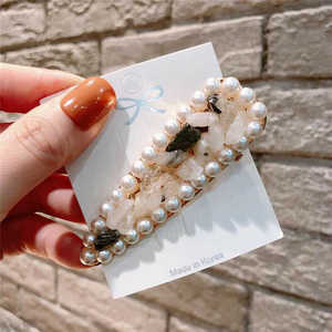 Fashion Crystal Stick Pearl Hairpin Clip Bobby Girls Barrette Hair Accessories