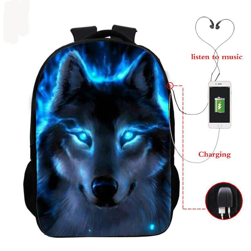 Wolf 3d Printed Backpack Boys Girls School Bag Teenager Usb Cable School Backpacks Women Men Bookbag