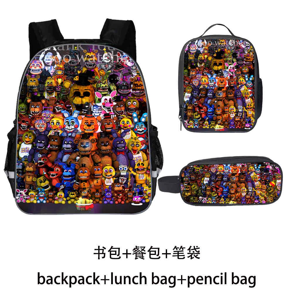 Fnaf conjunto mochila freddy adolescentes meninos meninas criança dinossauro crianças sacos de escola das mulheres dos homens bolsa