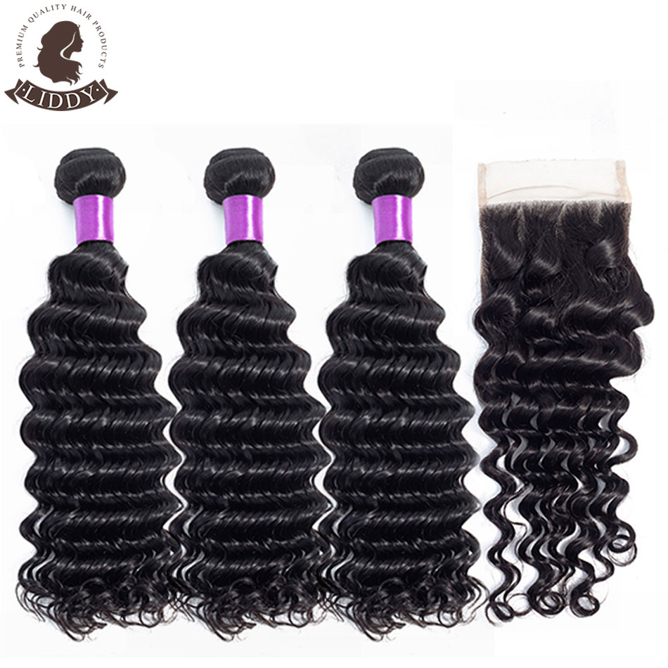 Liddy-وصلات شعر بيروفية غير ريمي 100% لون طبيعي ، وصلات شعر مموجة عميقة مع إغلاق