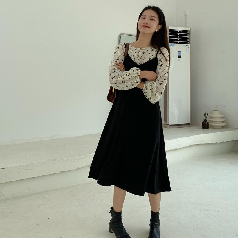 قطعتين مجموعة فستان نسائي فستان بكتافة + أكمام طويلة قميص زهري 2 قطعة مجموعات النساء الكورية نمط موضة سيدة مثير نادي وتتسابق