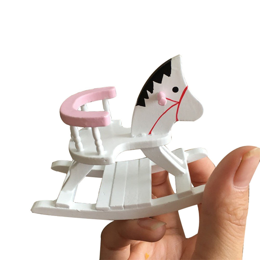 Casa de bonecas em miniatura branco de madeira cadeira de balanço do cavalo berçário mobília da sala 112 brinquedos para o presente de natal da festa de aniversário das crianças