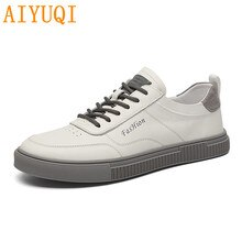 AIYUQI Shoes Men 2021 New Autumn Breathable White Men Sneakers Shoes Trend All-match Genuine Leather