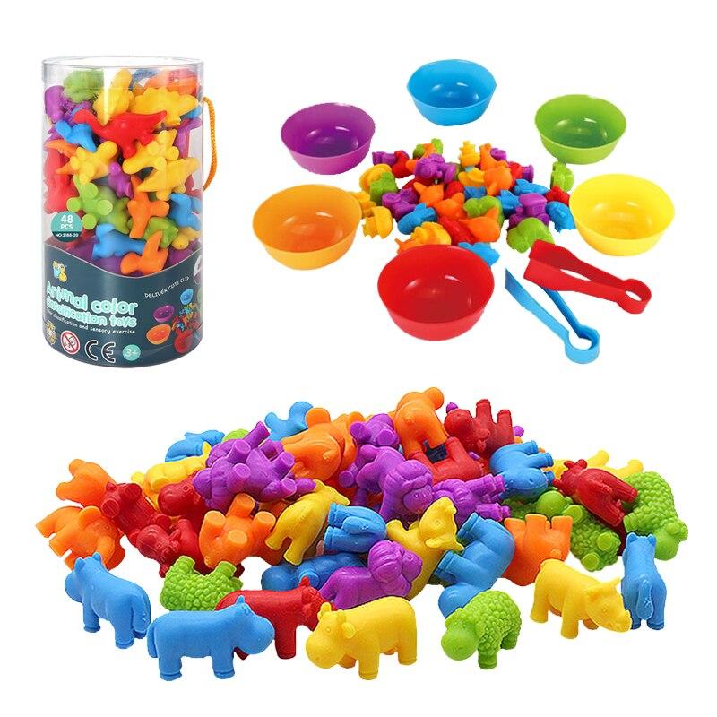 Цветные сортировочные детские игрушки, развивающие детские игры, игрушки Монтессори, Развивающие детские игрушки с мелким мотором, математ...