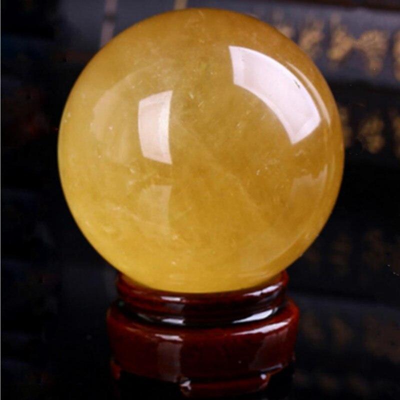 Bola de cristal de calcita amarilla piedras naturales y minerales reiki piedras...