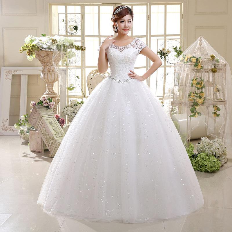 Cheap Bridal Beaded Sequin Crystal Lace Wedding Dress 2019 Weeding Tulle Cap Sleeve Long Wedding Ball Gown Vestidos De Novia
