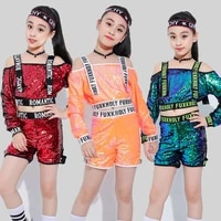 2021 new jazz dance costumes sequined shirt shorts girls hip hop clothing cheerleading dancing outfit children stage show wear