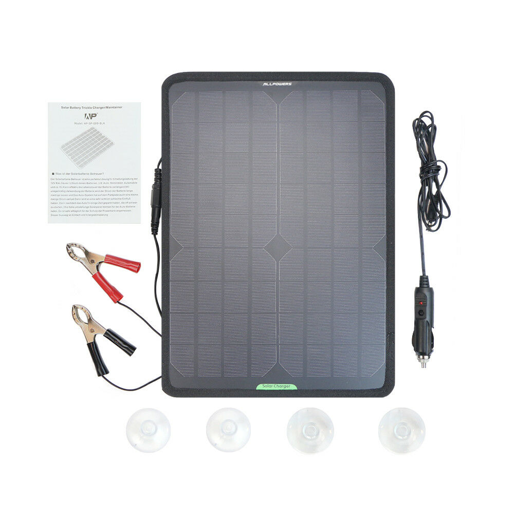 ALLPOWERS Solar Panel Car Charger 12V 10W Solar Car Battery Maintainer Charger for Battery of Vehicle Boat Motorcycle
