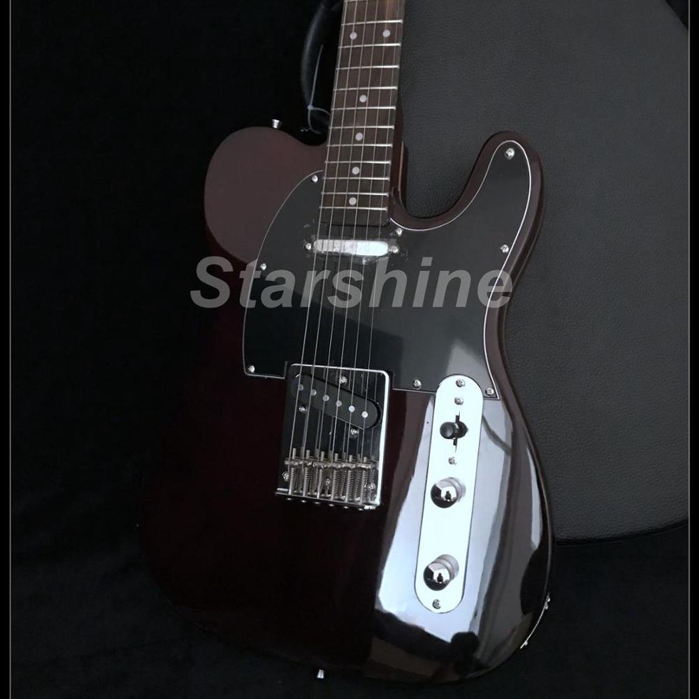 2019 vente chaude bonne qualité guitare électrique Y-ZX7 frêne corps acajou cou Vintage Tuner marron couleur cordes à travers le corps