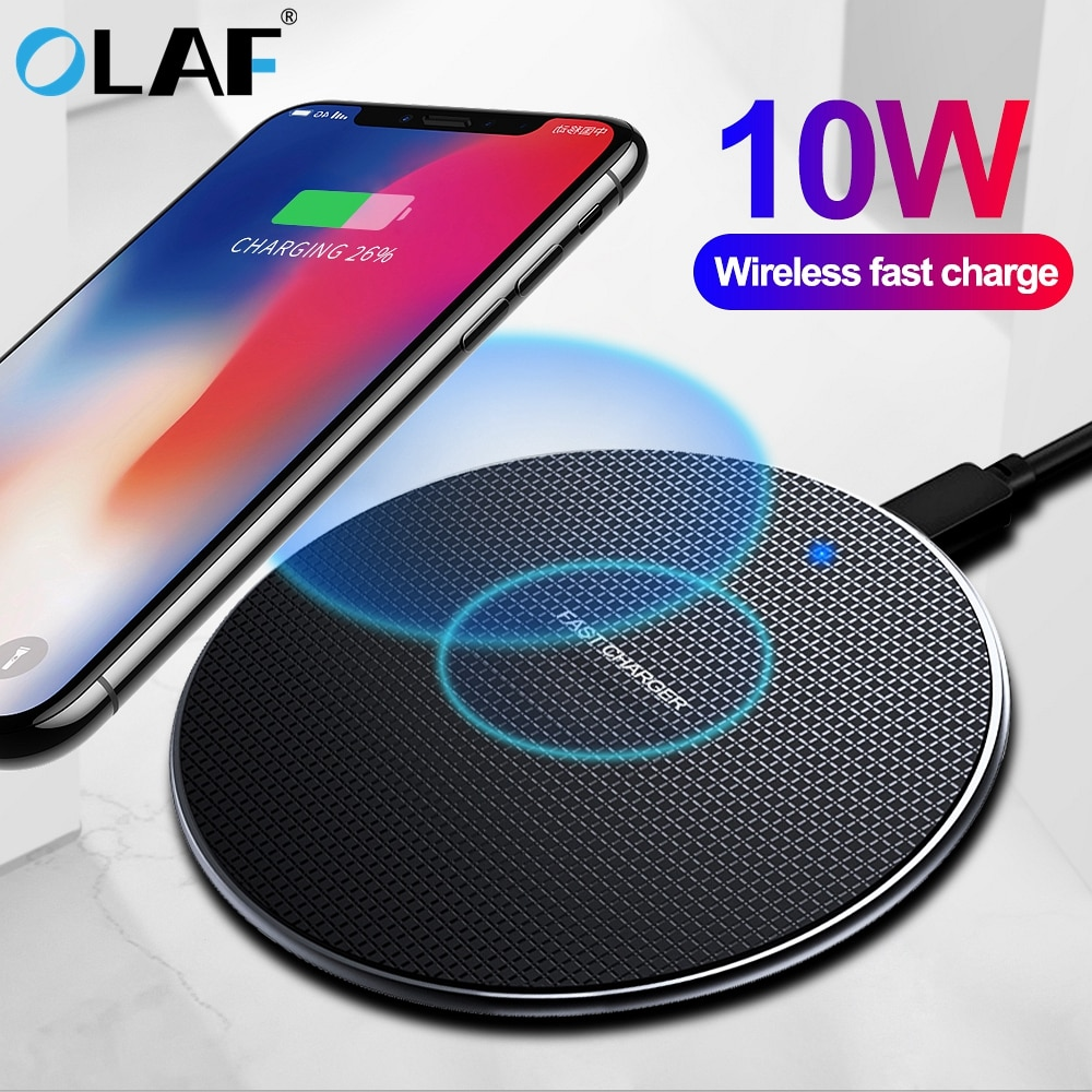 Olaf 10 w rápido carregador sem fio para samsung galaxy s10 s9/s9 + s8 nota 10 usb qi almofada de carregamento para iphone 11 pro xs max xr x 8 mais