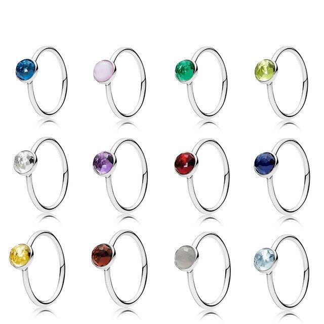 Novo 100% 925 anéis de prata esterlina para mulher 12 meses multicolorido opcional charme contas caber diy anel fábrica atacado