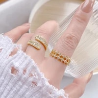 fashion 14k real gold plated micro inlaid cz open design finger ring bling zirconia adjustable double three layers bijoux gift