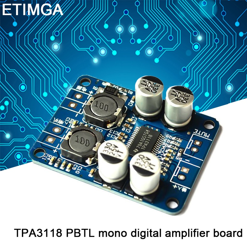 Tpa3118 pbtl mono amplificador digital placa 1x60w 12v 24v power amp