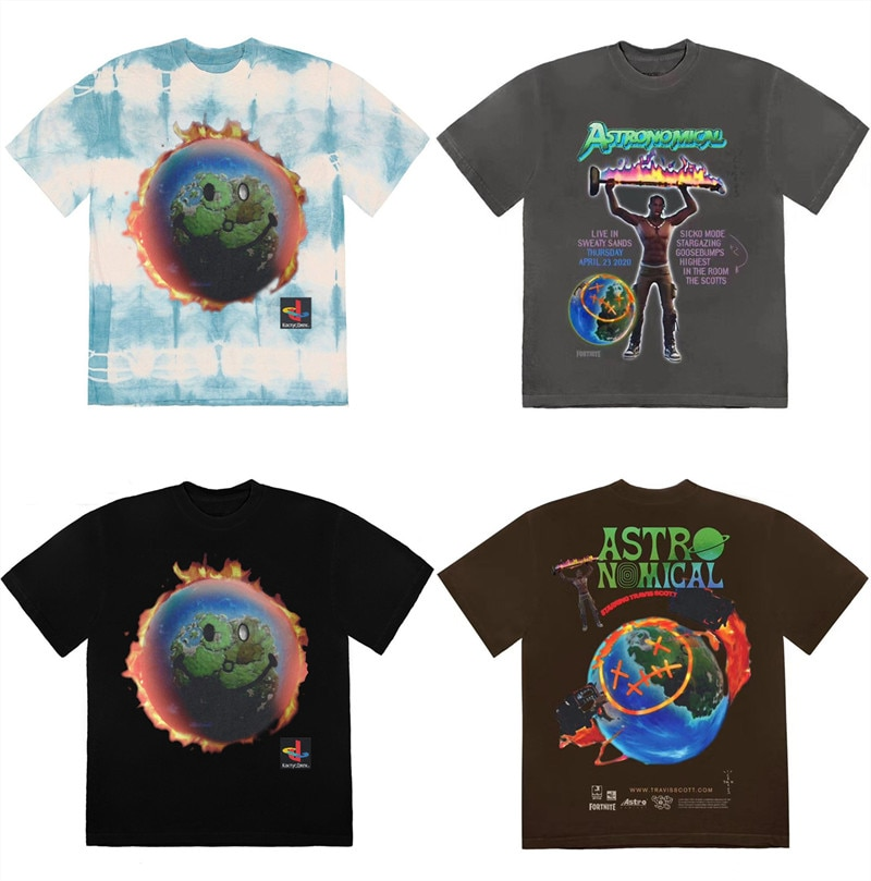2020ss Travis Scott Kaktus Jack Astroworld T hemd Männer Frauen Hohe Qualität Sommer Stil Travis Scott T-shirt