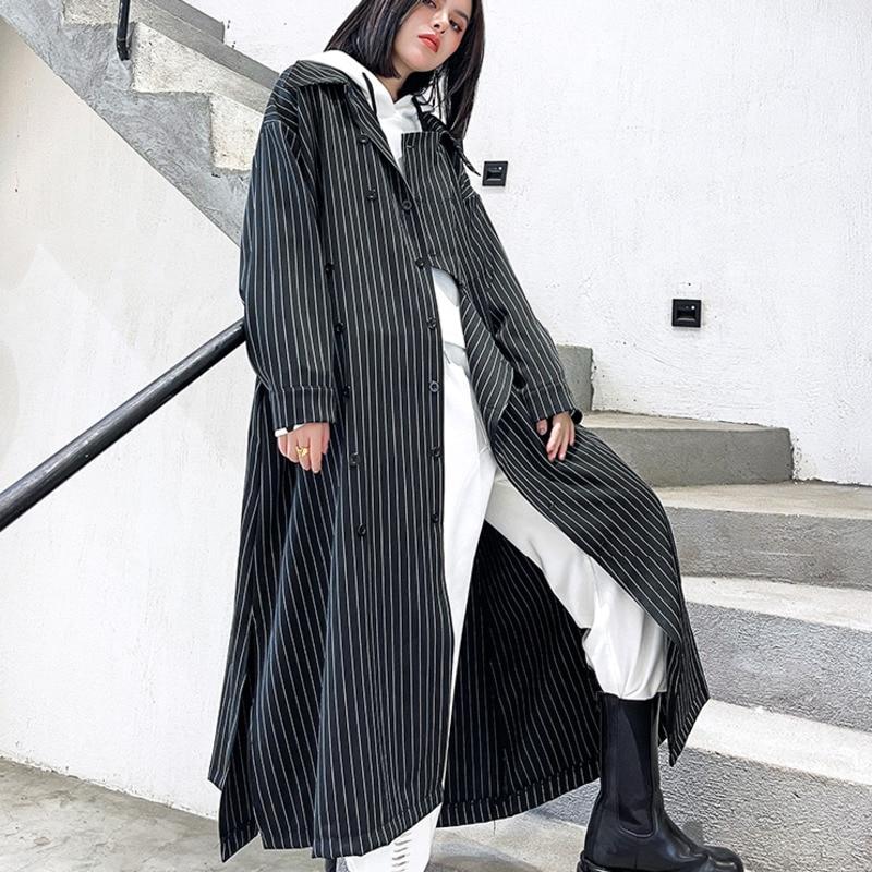 XUXI رقيقة سترة واقية معطف المرأة 021 جديد الخريف متوسطة وطويلة شريط الربط عادية واسعة الخصر معطف الإناث E3346