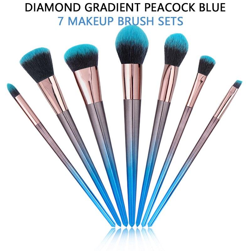 7pcs Makeup Brush Eyeshadow Eyebrow Blending Set Beauty Brush Rose Gold Gradient Peacock Blue Makeup Tool Set Make Up Brushes