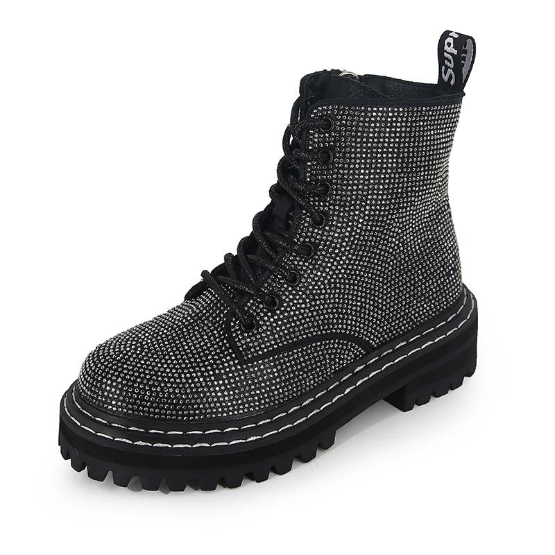 Women Ankle Martins Boots Platform Autumn Fashion Rhinestone Round Drboots Snow Botas De Mujer Women
