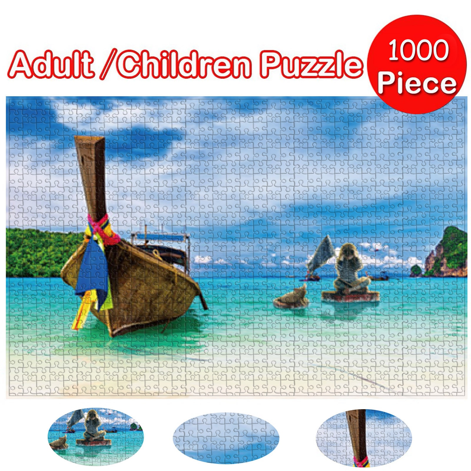 HIINST 1000pcs Blue Sea & Sky Picture Jigsaw Puzzle Toys Kids Educational Toy Adult Building Block Game детские игрушки 2021 New