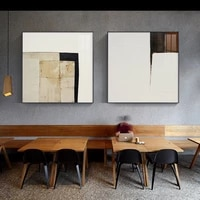 abstract light colour canvas painting posters and print minimalist style sqare wall art pictures for living room home decorative