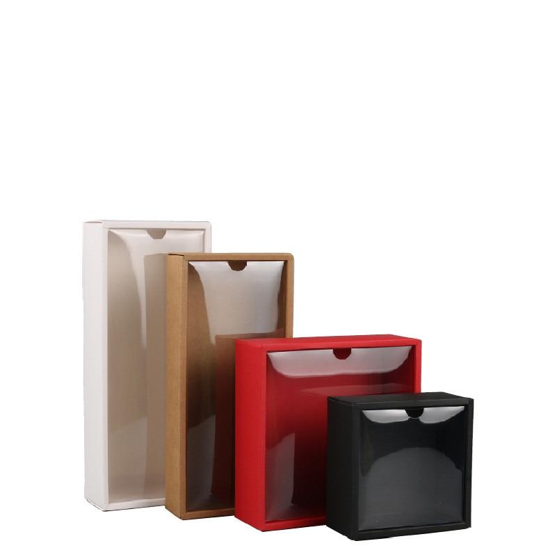 10 piezas de PVC transparente tapa rojo/blanco/Negro/Kraft caja de papel hecho a mano jabón caramelo Galleta de chocolate cajas para envoltura de regalo de boda