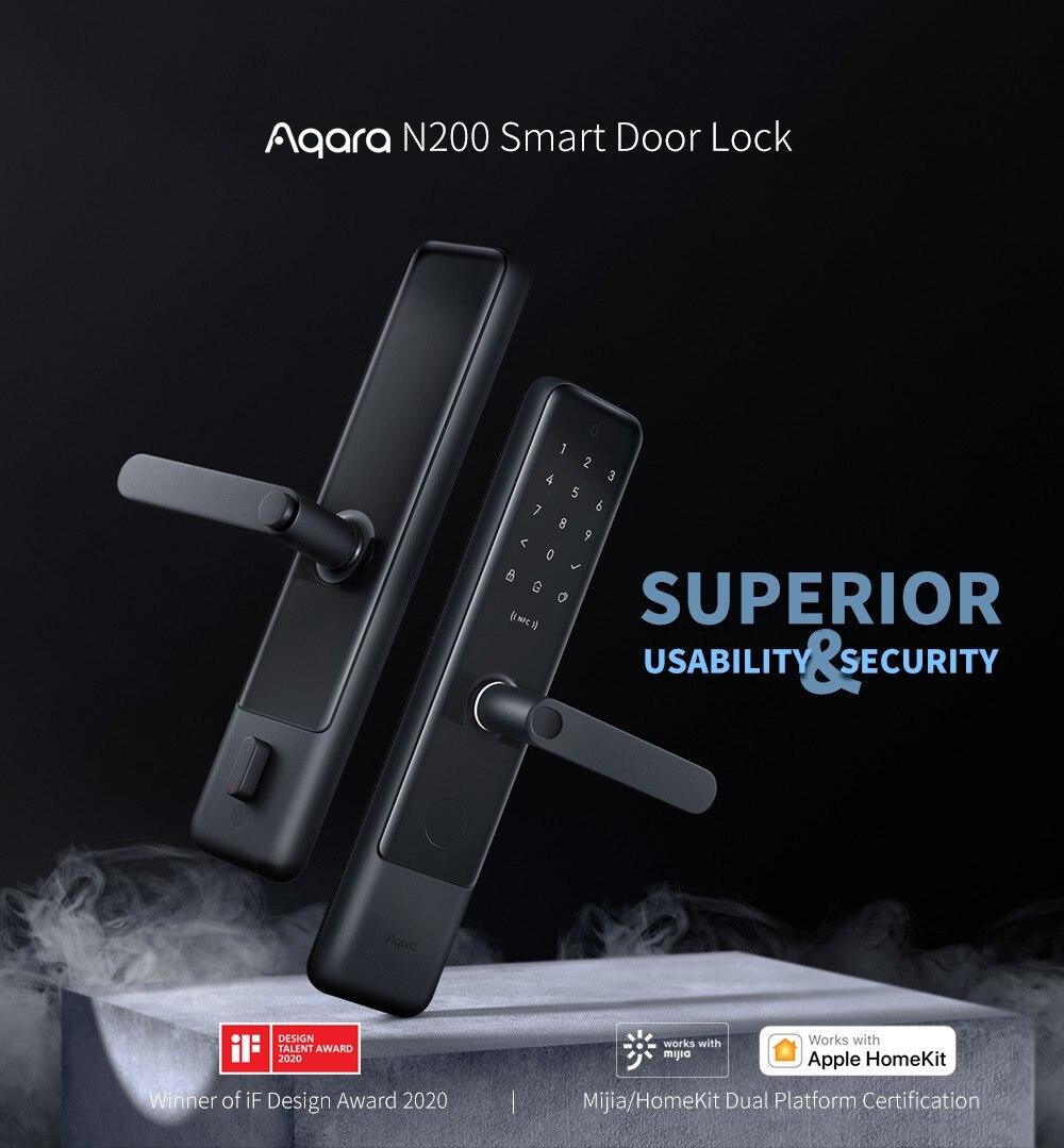 Nowy Aqara N200 inteligentny zamek do drzwi z czytnikiem linii papilarnych hasło Bluetooth NFC odblokować współpracuje z Mijia HomeKit z Miband