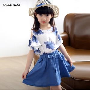 Summer Kids Girls Clothing Sets Cute Princess Maple Leaf Print T-shirt +flax Skirt Children Clothing Set Wear 3-14 Ages