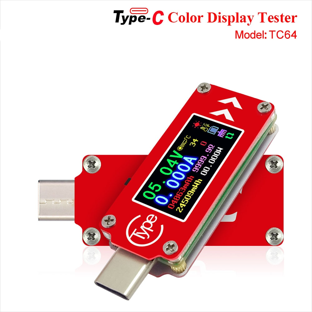 power z usb pd tester qc2 0 qc3 0 km001 voltage current ripple dual type c meter power bank high precision detector tester TC64 Type-C color LCD USB Voltmeter ammeter voltage current meter multimeter battery PD charge power bank USB Tester