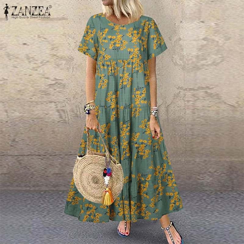 Zanzea verão sundress boêmio floral impresso praia vestido casual manga curta solta longo vestido kaftan robe plus size