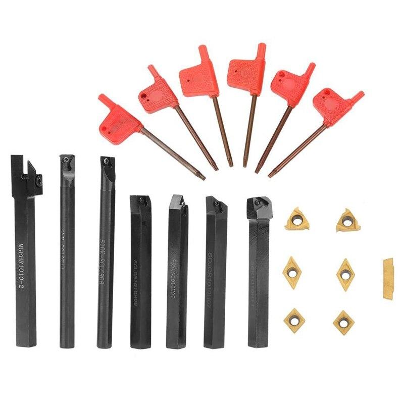 7 Uds. Torno de vástago de 10mm portaherramientas, herramientas de torno, cortador de torno, varilla de torneado de Metal Industrial