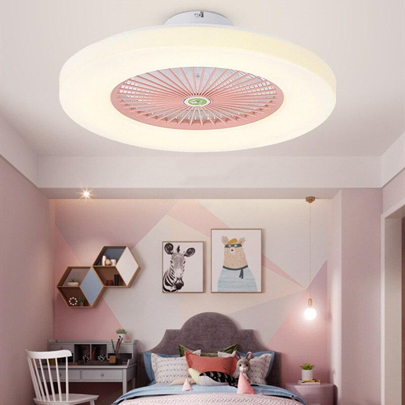 مروحة سقف ذكية Led مع جهاز تحكم عن بعد ، تصميم نورديك ، دافئة ورومانسي ، 3 ألوان ، غير مرئية