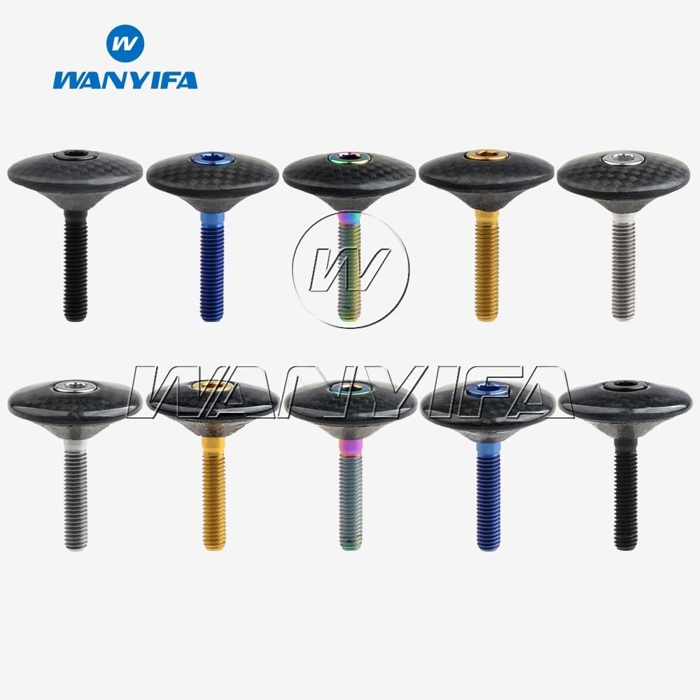 """1 1/8 """"3K fibra de carbono brillante mate ciclismo auriculares Stem tapa superior con tornillo de titanio M6x35"""