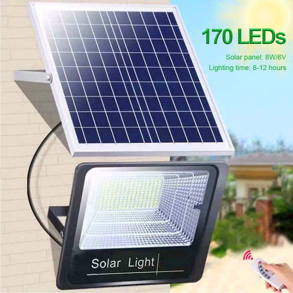 65W 44 LEDs 170 LEDs Solar Panel Garden Lamp Outdoor Waterproof IP67 Spot Security Flood Wall Lamp with Wireless Remote