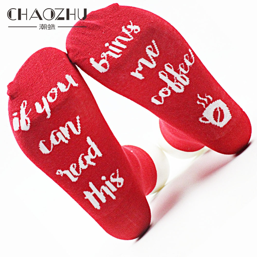 CHAOZHU Adults Funny Sole Letter Words Cotton Socks If You Can Read This Please Bring Me Wine Beer Coffee Xmas Gift Cool coffee please