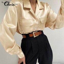 2021 moda cetim ol camisas celmia feminino outono manga longa escritório blusas botões lapela trabalho blusas bolso plus size tops 5xl