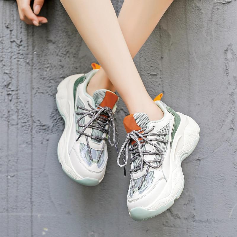 Sapatos femininos casuais chunky tênis plataforma 2021 moda rendas até confortável tenis feminino zapatos de mujer sapatos femininos preto