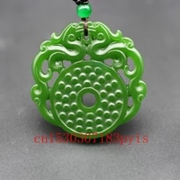 natural green jade dragon pendant necklace chinese double sided hollow carved charm jewelry fashion amulet for men women gifts