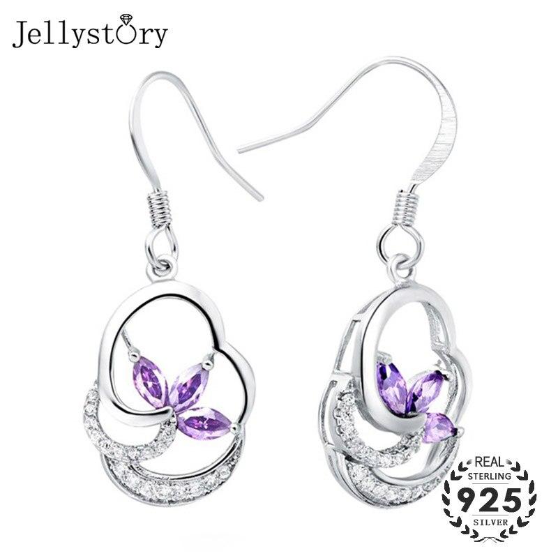 Pendientes de plata 925 Jellystory con forma de trébol amatista circonita piedras preciosas pendientes para mujeres regalos de fiesta de boda