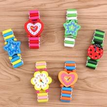1pc Novety Cute Cartoon Kids Bracelet Fake Wooden Watch Baby Shower Girl Boy Christmas Gifts Toys