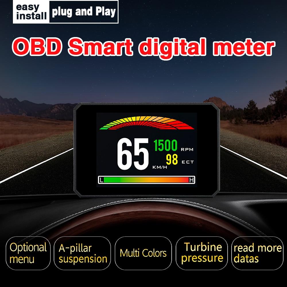 Hud p16 hd tft velocidade do carro brisa projetor head-up display velocímetro alarme automático obd obd2 óleo medidor de temperatura de água