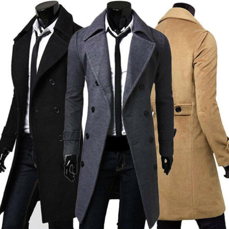 Moda 2019 para hombre, caballeros, doble botonadura abrigo largo, gabardina, chaqueta, prendas de vestir, Invierno