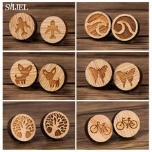 SMJEL Vintage Wood Bicycle Airplane Earrings For Men Wave Tree Butterfly Dog Earring Ear Stud For Wo