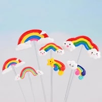 10pcs figurines miniatures rainbow polymer clay candy 3d cabochons for diy party kids gift crafts making scrapbooking diy