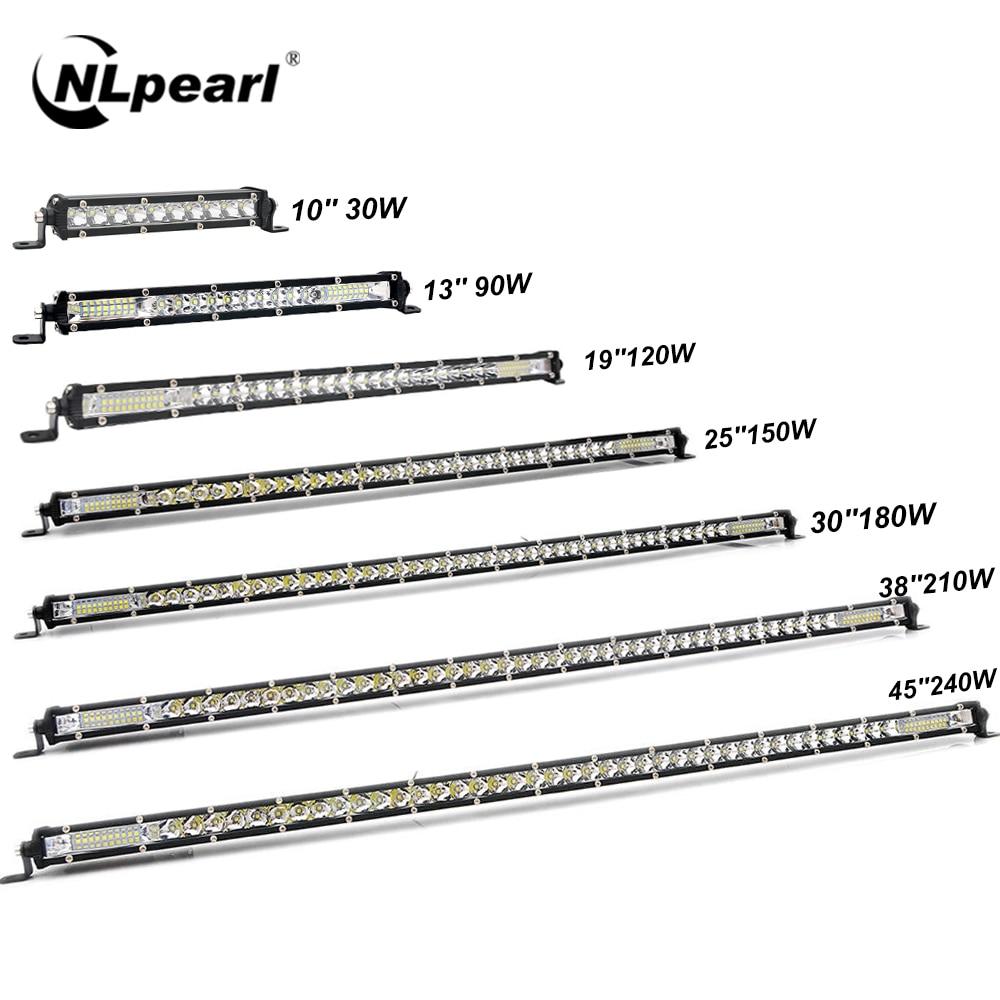 Nlpearl 10-50 pulgadas, barra de luces/barra de trabajo Ultra delgada Combo LED para camiones 4X4 UAZ todoterreno ATV luz de trabajo 12V 24V