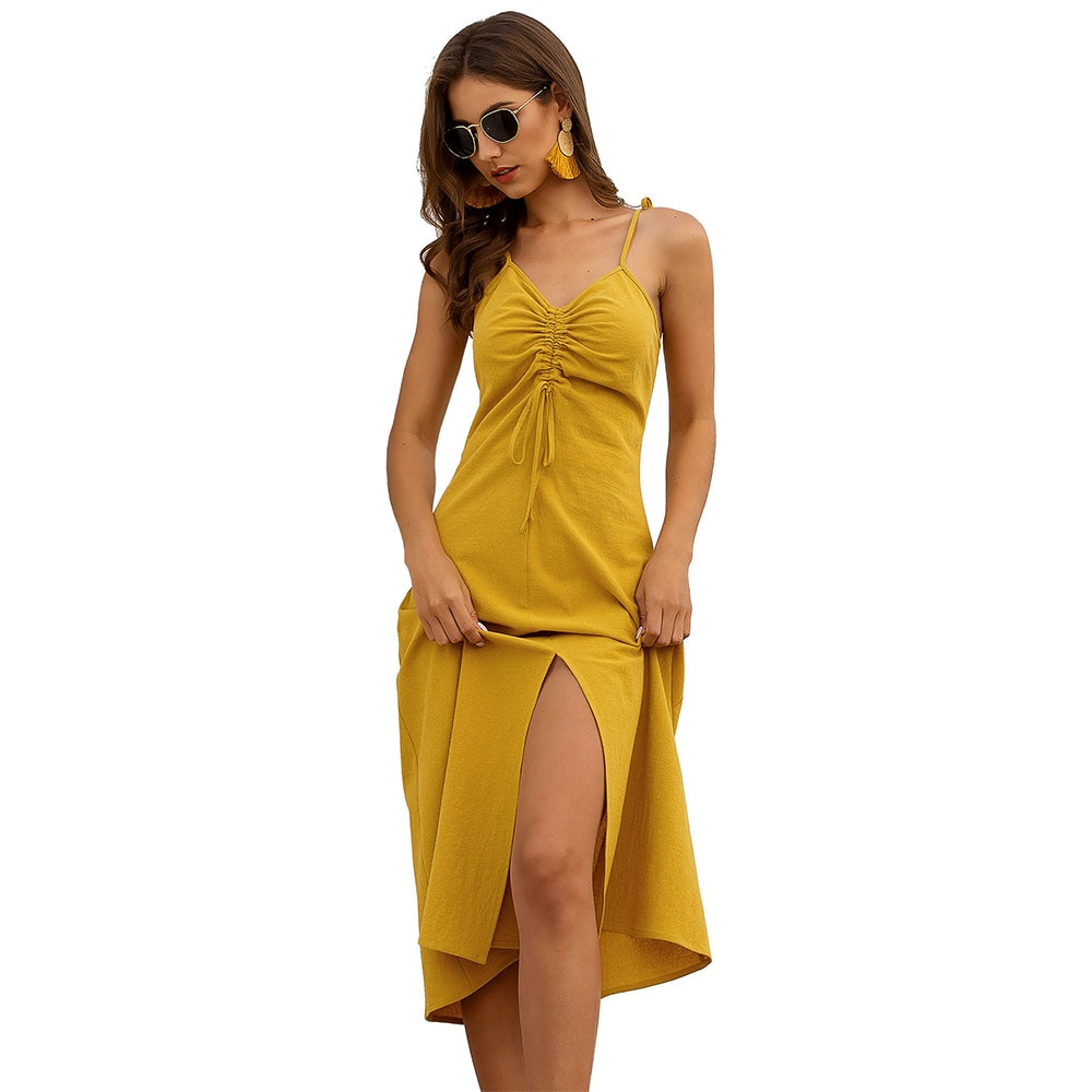 2020 Fashion Designer Frauen Sexy Sommer Spaghetti Strap Midi Kleid Damen Twist Vorder Split Flowy Leinen Kleider Geraffte Outfit