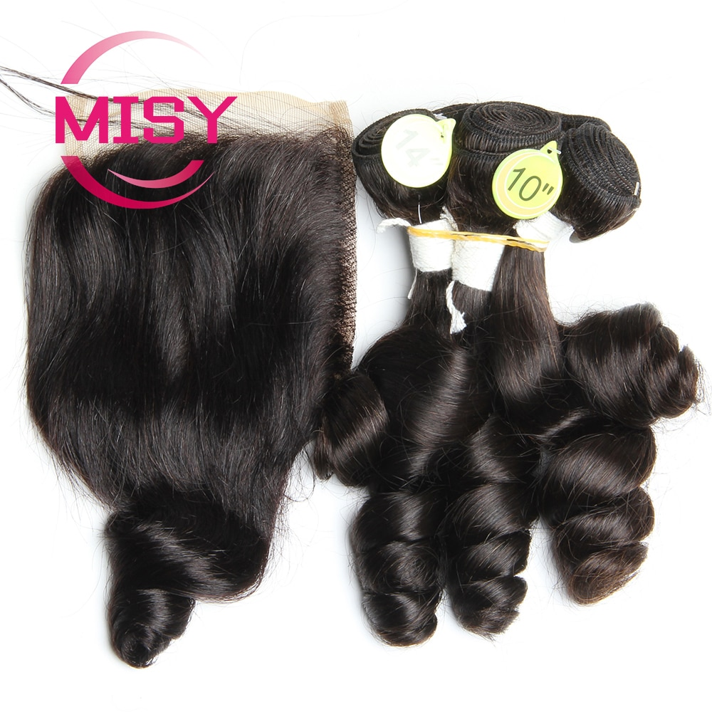 Curly Bundles With Lace Closure Indian Hair Weave Bundles with 4*4 Closure Remy Human Hair 5 Bundles and Closure