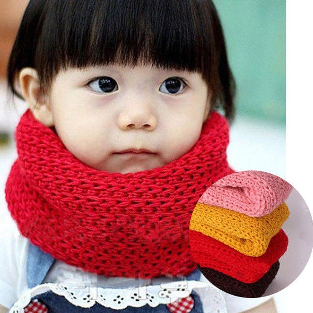 Bufanda cálida para otoño e invierno, bufanda de algodón para niños y mujeres, bufandas suaves y cálidas para bebés, bufanda tejida con anillo O