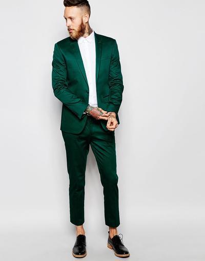 الرجال الدعاوى 2 قطعة تيل الأخضر واحدة الصدر التلبيب الذروة صالح عارضة رفقاء العريس البدلات الرسمية الزفاف أفضل رجل سترة + السراويل