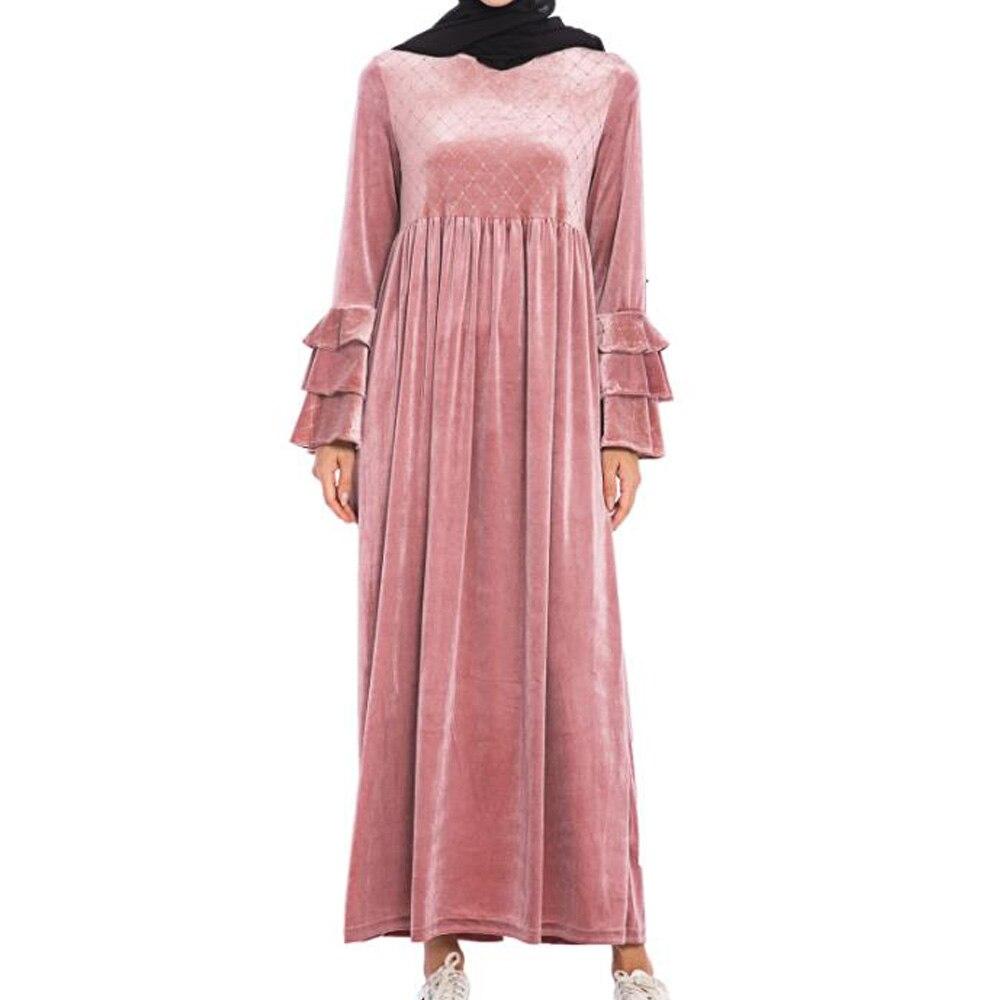 Otoño oro Velet Maxi vestidos largos mujeres elegante vestido de fiesta de manga larga Casual musulmán suelto vestido de talla grande ropa de mujer 3XL