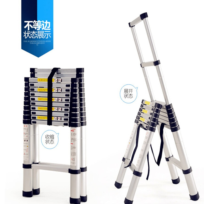 Thickening Alloy Aluminum Step Ladder Retractable Multifunctional Folding E Style Inequilateral Herringbone Ladder 3Colours