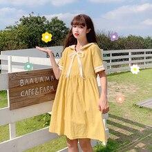 Japonais Lolita Mori fille femmes mignon Mini robe col marin surdimensionné uniforme scolaire Kawaii Preppy Style cravate Cosplay robe